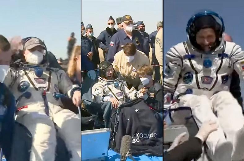 Astronaut Kate Robins (left), astronauts Sergey Nikolayevich Rijikov and Sergey Cod-Swerchko