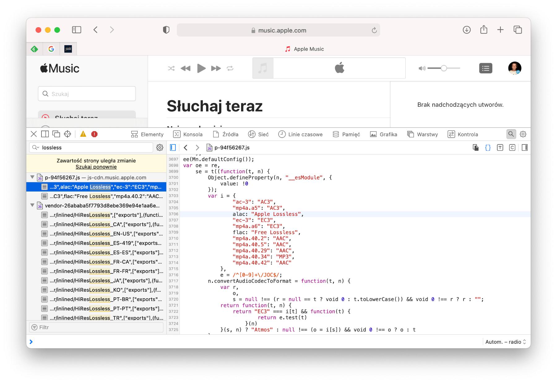 Apple Music z Lossless code