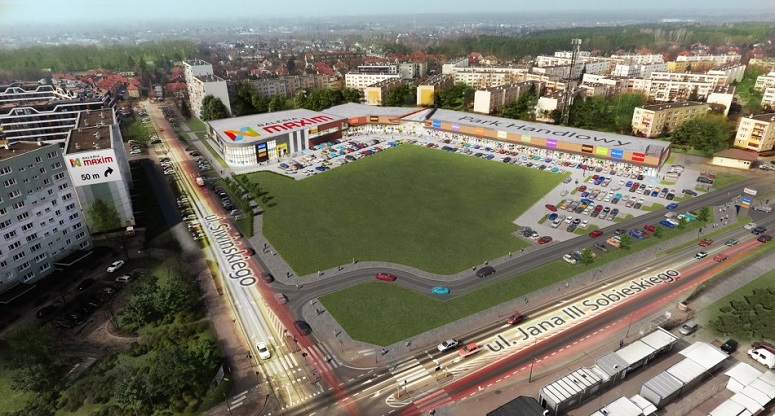 Legionovo.  Visualization of Maxim Retail Park.  35 new stores will open