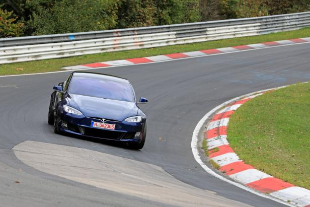 A Tesla Model S at the Nuerburgring race track near Adenau