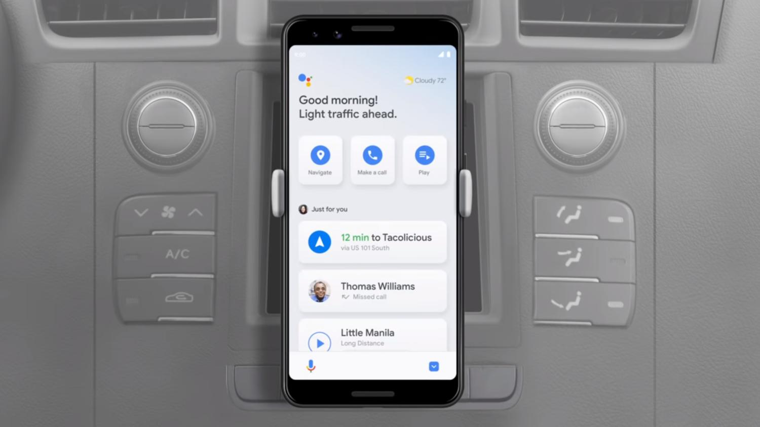 Driving mode for Google Assistant