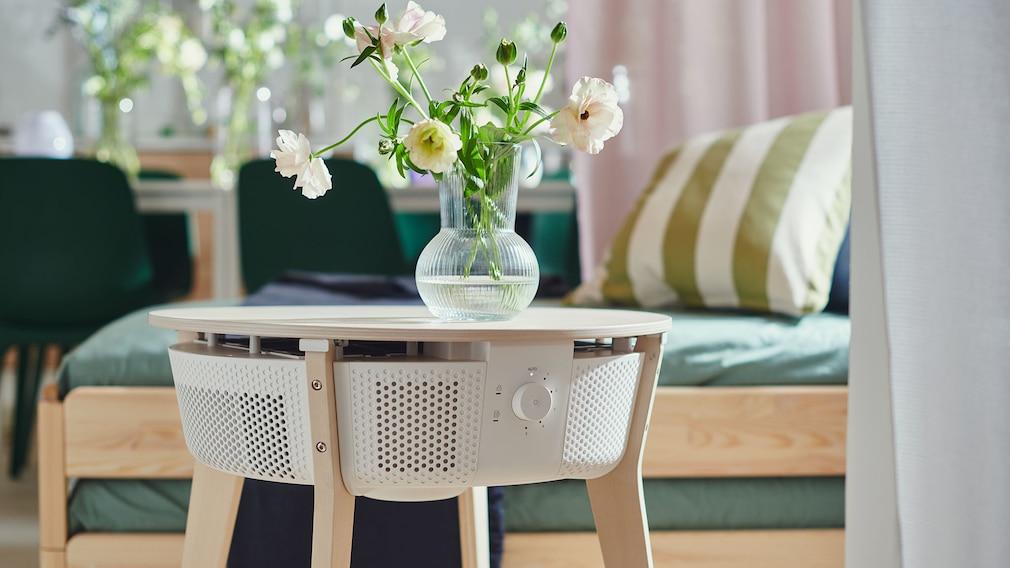 IKEA Starkvind air purifier as a table in an apartment.