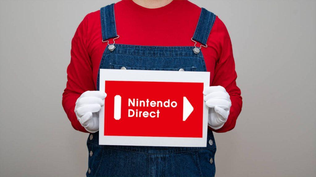 Nintendo Direct - Mario trzyma kartkę z logo pokazu- PG