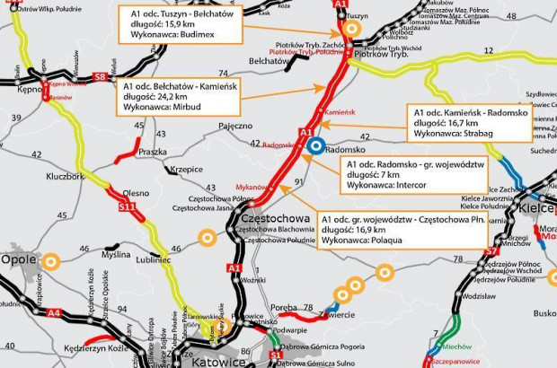 From now on, drivers will travel along the 24 km section of the A1 motorway between Piotrków Trybunalski and Kamieńsk on two lanes in each direction.