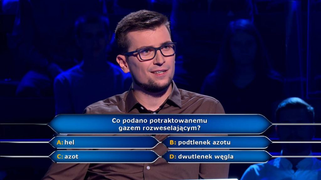Laughing gas question among millionaires.  The viewer and friend do not know the answer