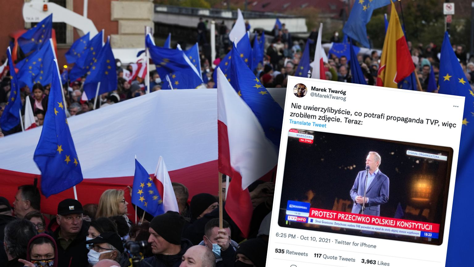 Donald Tusk during a demonstration in Fort Square on 10.10.2021